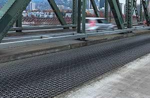 riveted bar grating on a bridge