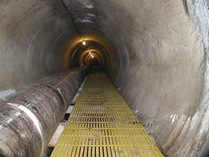 pulturded fiberglass grating in tunnel