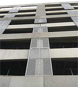 Perforated-Metal-wall-cladding, parking garage with perforated metal