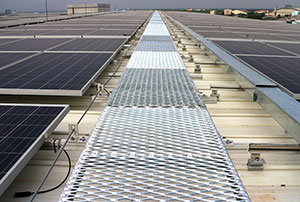 expanded metal walkway through solar panels; expanded metal fabrication