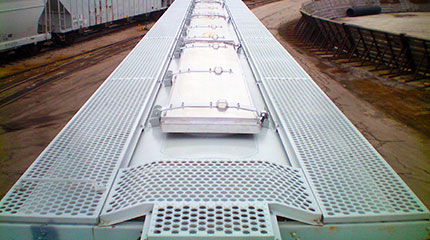 Perf-O-Grip plank grating on railway car