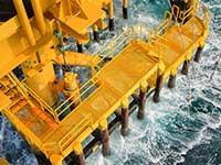 offshore rig with bar grating