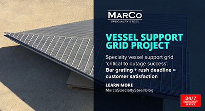 BIC vessel support grid project, rush bar grating